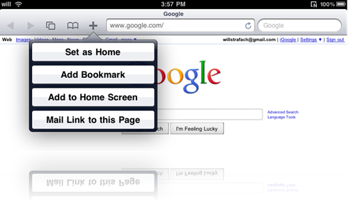 Home Page in Safari