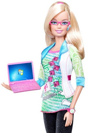 Barbie with Windows 7 PC