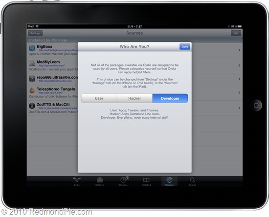 Cydia on iOS 4.2 for iPad