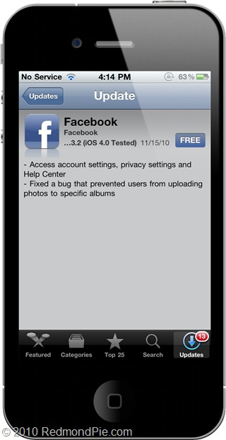 Facebook 3.2.2 for iPhone