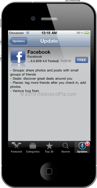 Facebook 3.3 for iPhone