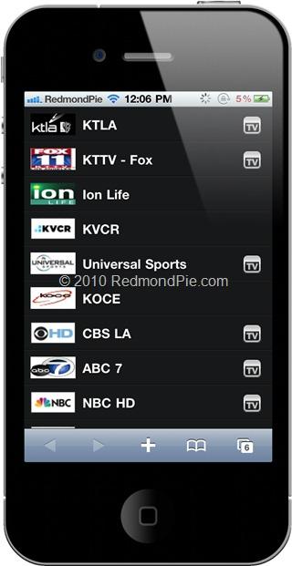 FilmOn on iPhone 4