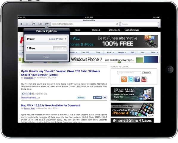 iOS 4.2 AirPrint on Mac OS X 10.6.5