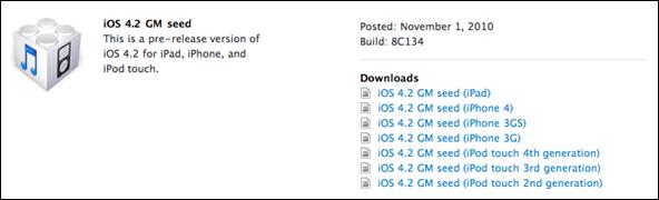 iOS 4.2 Final GM