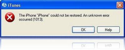 iTunes Error 1013
