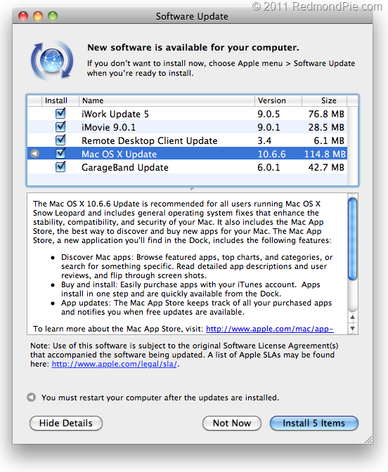 Download Mac OS X 10 6 6 Snow Leopard | Redmond Pie
