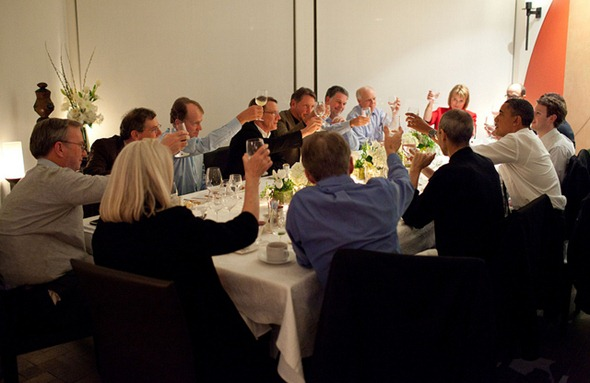 President Barack Obama joins a toast with Technology Leaders