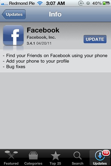 Facebook 3.4.1 for iPhone