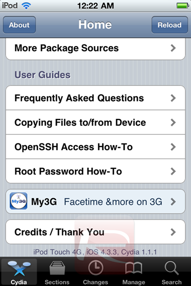 Cydia on iOS 4.3.3