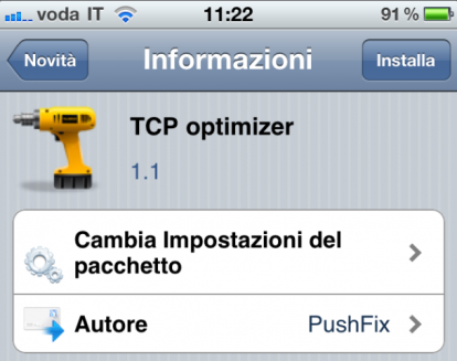 TCP Optimizer running on an iPhone