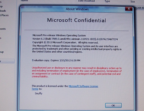 """""""About Windows"""" screen"""