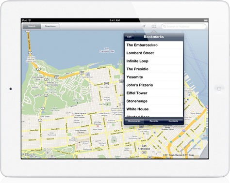Maps on iPad 2