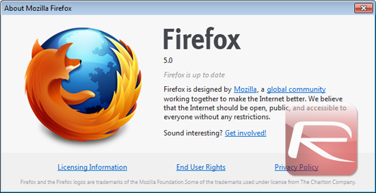 Firefox 5 About Screen
