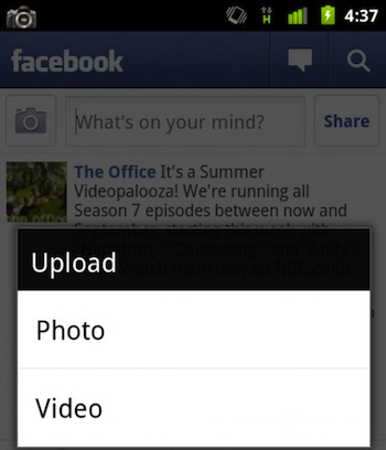 Android Facebook Video Uploading