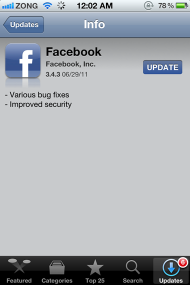Facebook for iPhone