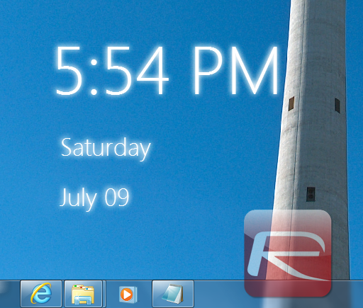 Add Windows 8 Style Clock To Your Windows 7 And Vista