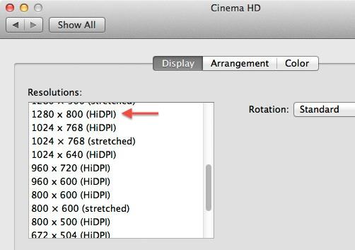 Retina Display in OSX