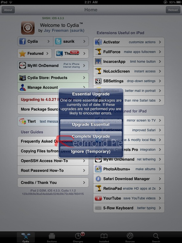 iPad 2 JailbreakMe Cydia Update (1)