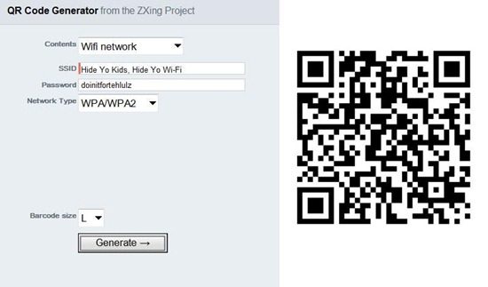 how to make a qr code for wifi password