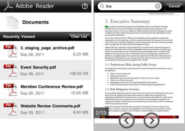Adobe Reader iPhone Screenshots