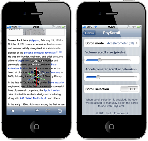 PhyScroll for iPhone