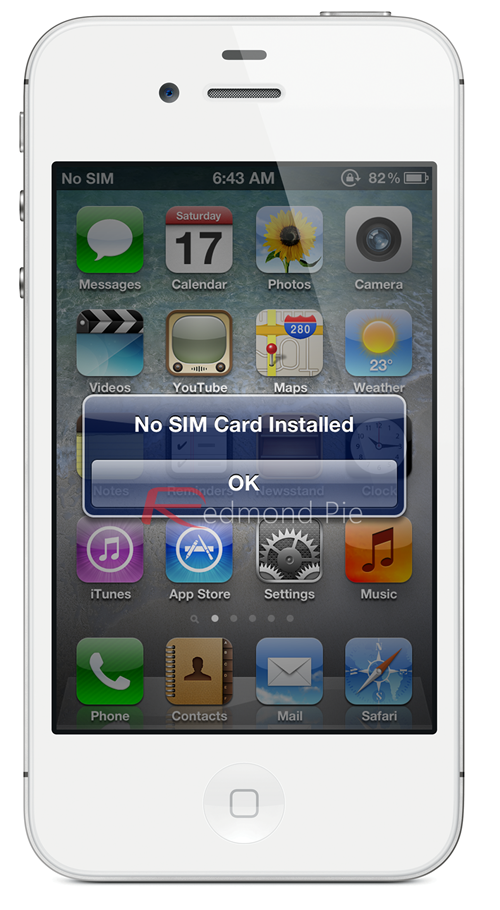 iPhone 4S No SIM Card Installed