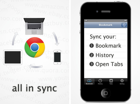 ChromeSynceiOS Screens