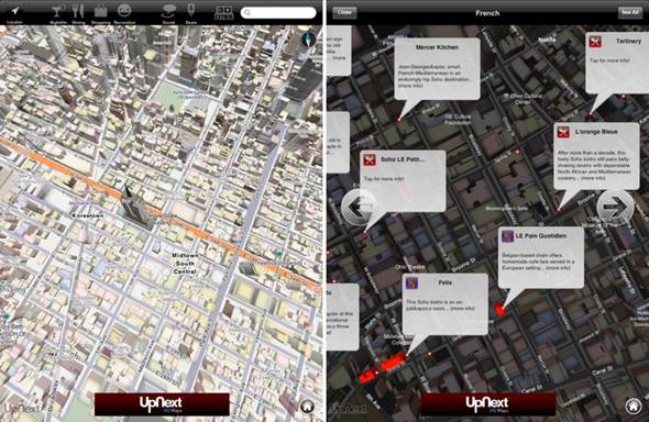 UpNext HD Maps screen