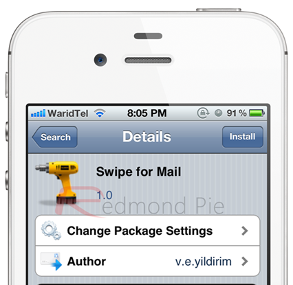 Swipe for Mail iPhone 4S white