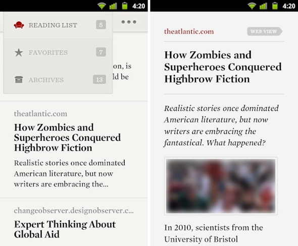 Readability Android screens 2
