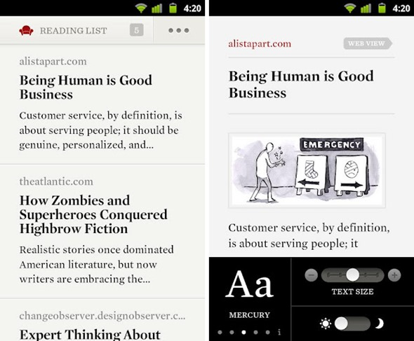 Readability Android screens