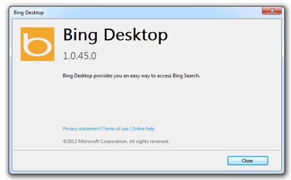 bing desktop about