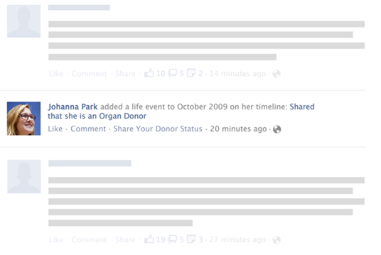 Organ donor Facebook