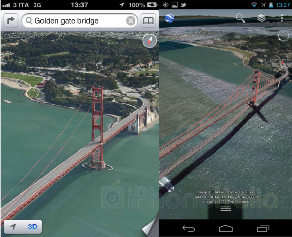 3D Maps In iOS 6 Vs 3D Maps On Google Earth In Android 4.1 ... Google Earth Vs Maps on world map, satellite map, google us map, from google to map, google maps car, google latitude, street view map, flat earth map, virtual earth map, europe map, google moon map, google street view, google sky, google africa map, gis map, the earth map, bing map, google maps italy, earth view map, united states map,