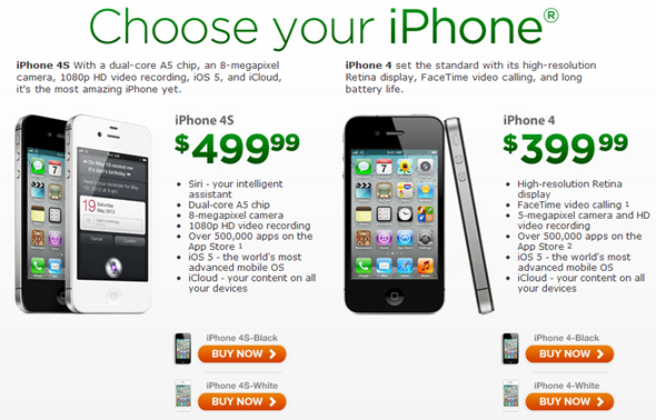 iPhone 4 4S landing page cricket