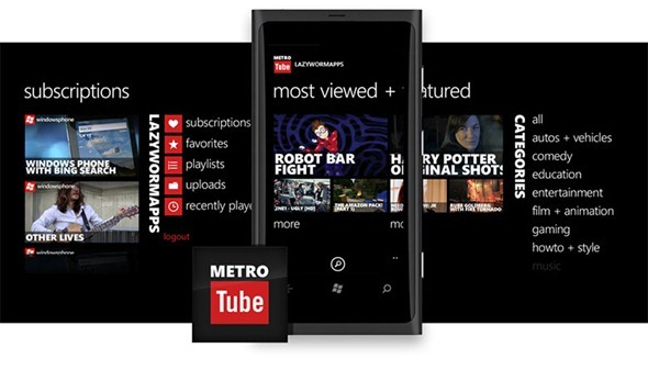MetroTube splash Windows phone