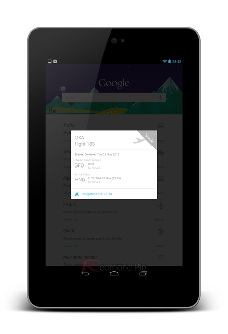 Nexus 7 Google Now card