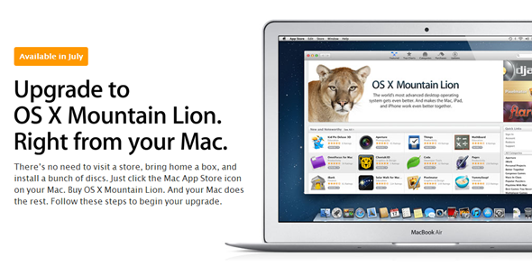 OS X Mountain Lion splash upgrade