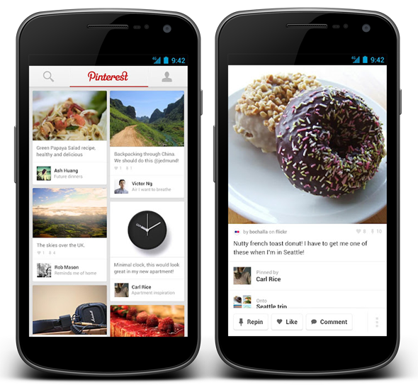 Pinterest releases apps for android smartphones tablets and ipad download now redmond pie - Pinterest mobel ...