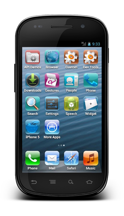 Fake iPhone 5 launcher home screen