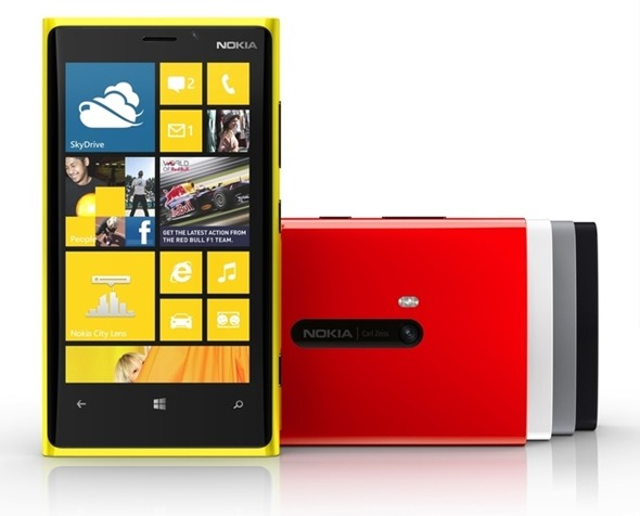 Nokia Lumia 920 front shot colors
