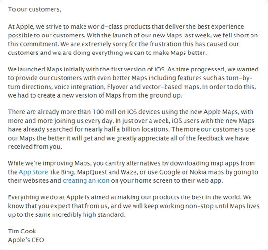 Apple CEO Issues Open Letter iOS 6 Maps App Says He s
