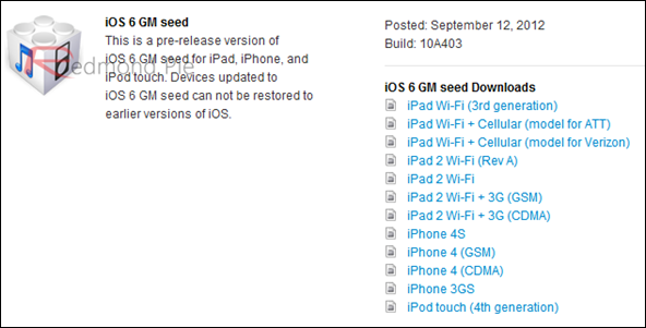 iOS 6 GM
