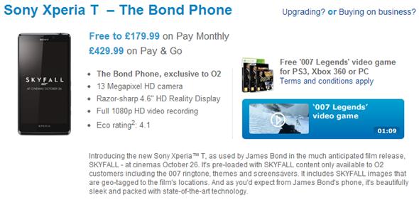 Sony Xperia T Skyfall bond phone