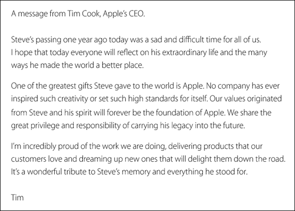 Tim Cook email Steve Jobs