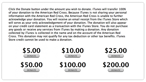 iTunes Red Cross Sandy Superstorm