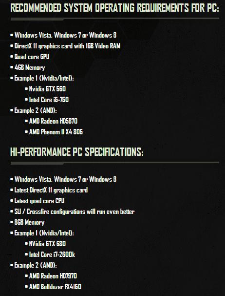 Crysis 3 specs