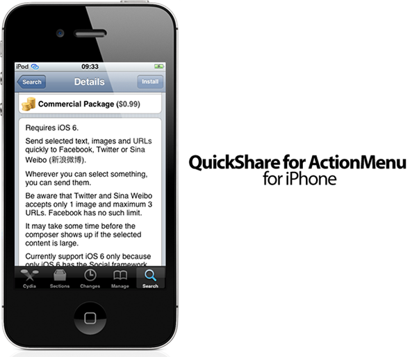 QuickShare for ActionMenu iOS
