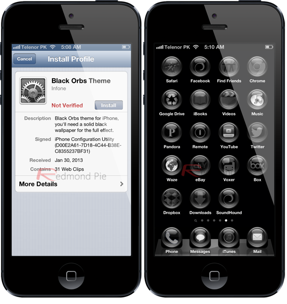 Black theme iPhone 5