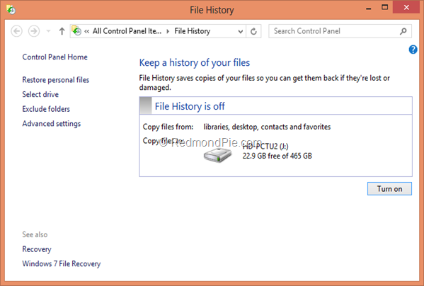 File History Control Panel